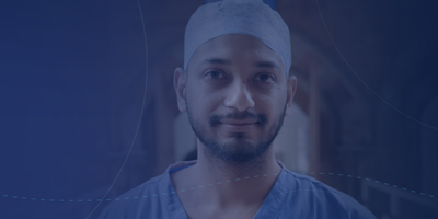 Male nurse with dark blue background image